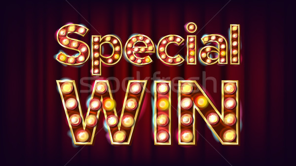 Special Win Banner Vector. Casino Vintage Style Illuminated Light. For Slot Machines Signboard Desig Stock photo © pikepicture