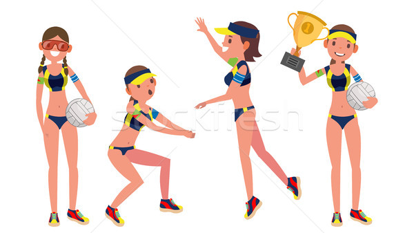 Beach Volleyball Player Vector. Girl. Modern Athlete. Beach Volley. Summer Team Sport. Players In Di Stock photo © pikepicture