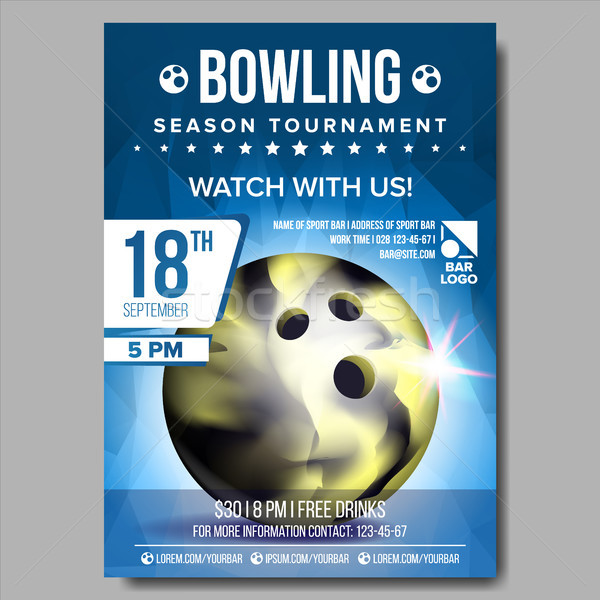 Bowling Poster Vector. Banner Advertising. Sport Event Announcement. Ball. A4 Size. Announcement, Ga Stock photo © pikepicture