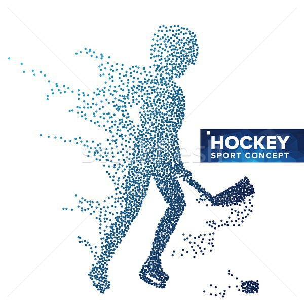 Hockey Player Silhouette Vector. Grunge Halftone Dots. Dynamic Ice Hockey Athlete In Action. Sport B Stock photo © pikepicture