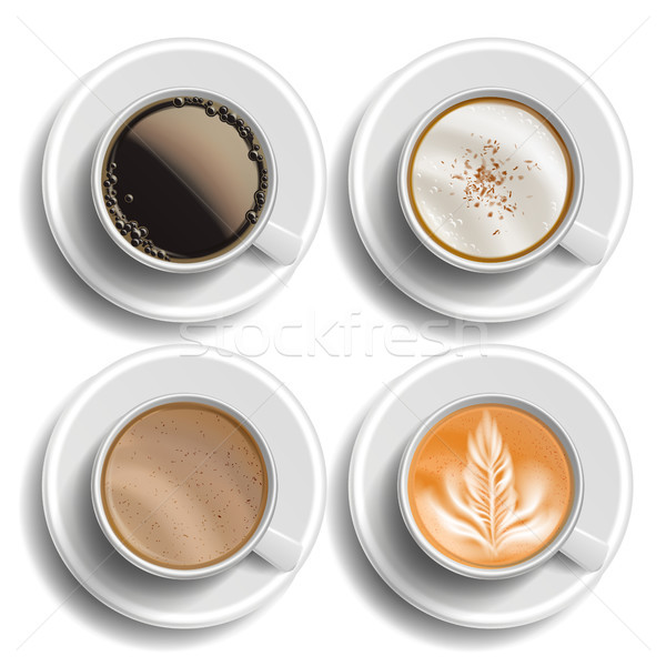Coffee Cups Set Vector. Top View. Different Types. Coffee Menu. Hot Latte, Cappuchino, Americano, Ra Stock photo © pikepicture
