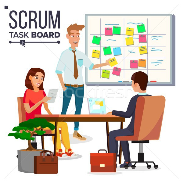 Business Characters Scrum Team Work Vector. Teamwork Scheme Planning On Whiteboard. Team Room Full O Stock photo © pikepicture