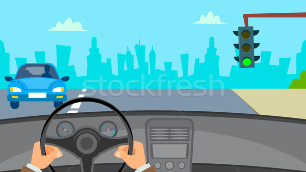 Hands Driving Car Vector. Man Hands On Steering Wheel. Car Interior. Flat Illustration Stock photo © pikepicture