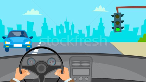 Mains conduite voiture vecteur homme volant Photo stock © pikepicture