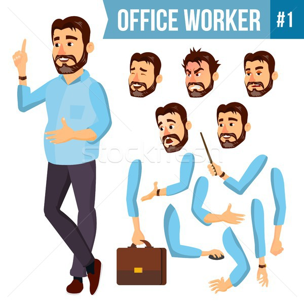 Office Worker Vector. Face Emotions, Various Gestures. Animation Creation Set. Corporate Businessman Stock photo © pikepicture