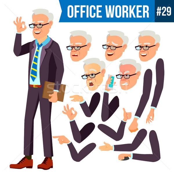 Office Worker Vector. Face Emotions, Various Gestures. Animation Creation Set. Adult Entrepreneur Bu Stock photo © pikepicture