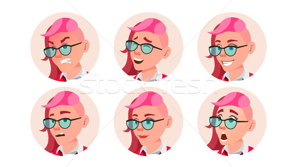 Avatar Woman Vector. Facial Emotions. Round Portrait. Stylish Face. Angry, Smile. Emo, Freak Hairsty Stock photo © pikepicture