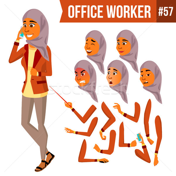 Arab Office Worker Vector. Woman. Traditional Clothes. Islamic. Hijab. Professional Officer, Clerk.  Stock photo © pikepicture