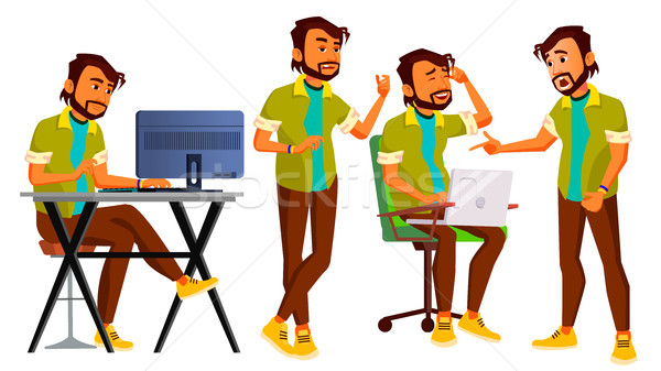Office Worker Vector. Indian Businessman Worker. Animated Elements. Poses. Front, Side View. Happy J Stock photo © pikepicture