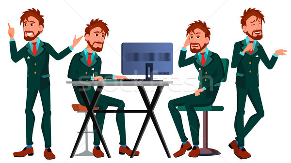 Office European Worker Vector. Adult Business Male. Successful Corporate Officer, Clerk, Servant. Sc Stock photo © pikepicture