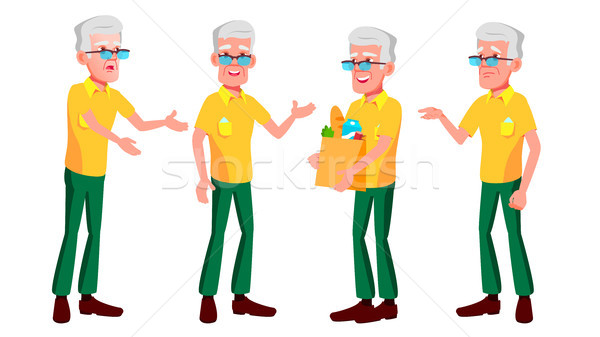 Old Man Poses Set Vector. Elderly People. Senior Person. Aged. Beautiful Retiree. Life. Presentation Stock photo © pikepicture