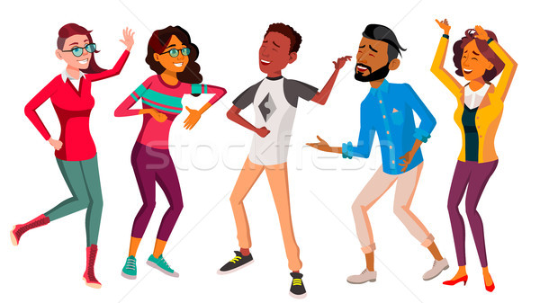 Dancing People Set Vector. People Dance. Move To Music. Isolated Flat Cartoon Illustration Stock photo © pikepicture