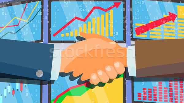 Handshake Vektor Geschäftsleute erfolgreich Transaktion Illustration Stock foto © pikepicture