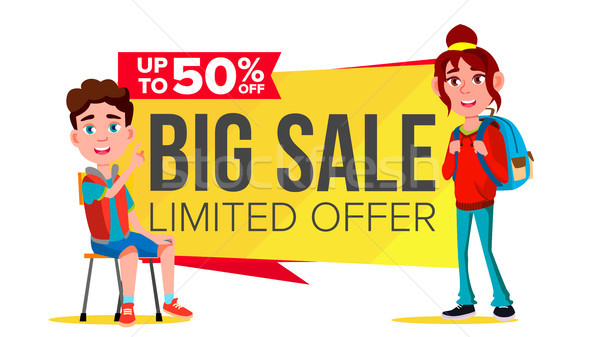 Big Sale Banner Vector. School Children, Pupil. Shopping Concept. Discount Tag, Special Offer Banner Stock photo © pikepicture