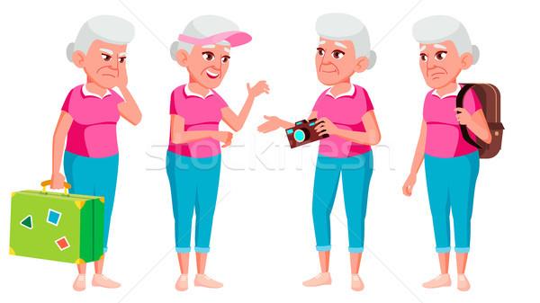 öregasszony szett vektor idős emberek idős Stock fotó © pikepicture