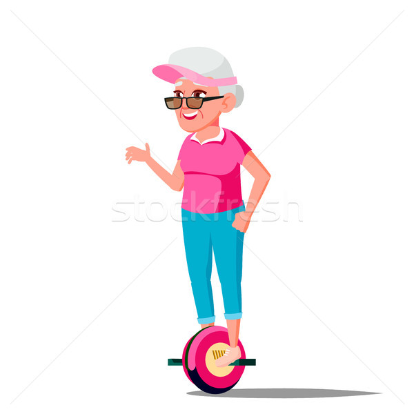 Old Woman On Hoverboard Vector. Riding On Gyro Scooter. One-Wheel Electric Self-Balancing Scooter. P Stock photo © pikepicture