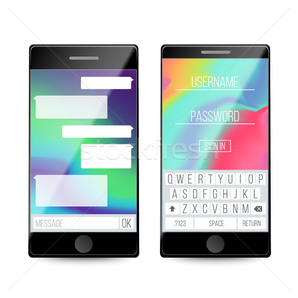 Okostelefon szövegbuborékok telefon képernyő beszélget sms Stock fotó © pikepicture