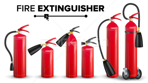 Fire Extinguisher Set Vector. Different Types. Metal Glossiness 3D Realistic Red Fire Extinguisher I Stock photo © pikepicture