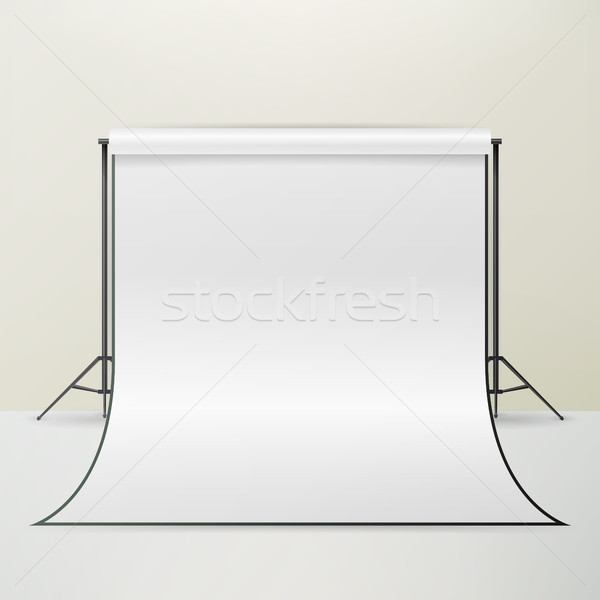 White Photo Studio Vector. Realistic Photographer Studio Interior Illustration Stock photo © pikepicture