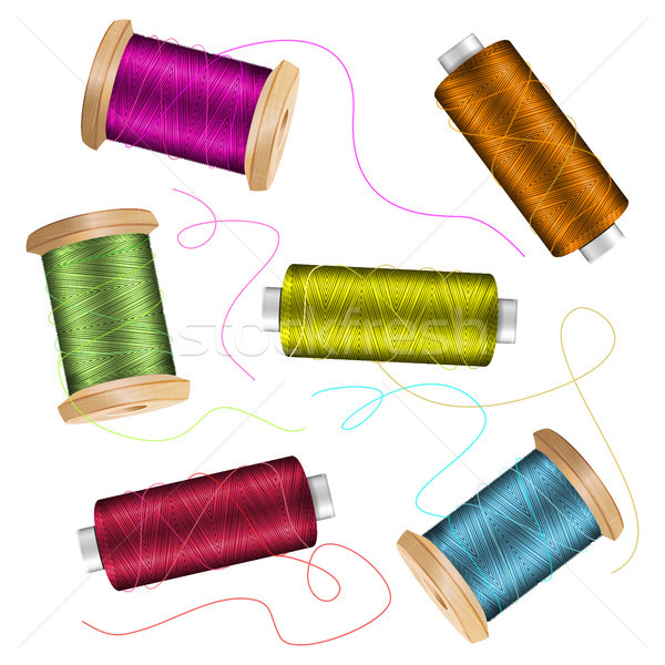Thread Spool Set Background. For Needlework And Needlecraft. Stock Vector Illustration Of Yarn Or Co Stock photo © pikepicture