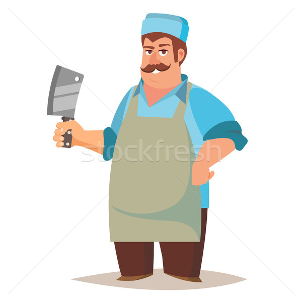Happy Butcher Vector. Standing Butcher Man With Knife. Natural Meat. For Steak, Meat Market, Storero Stock photo © pikepicture