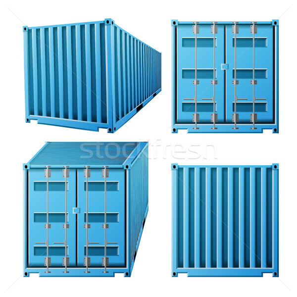 Blue Cargo Container Vector. Realistic 3D Metal Classic Cargo Container. Freight Shipping Concept. T Stock photo © pikepicture