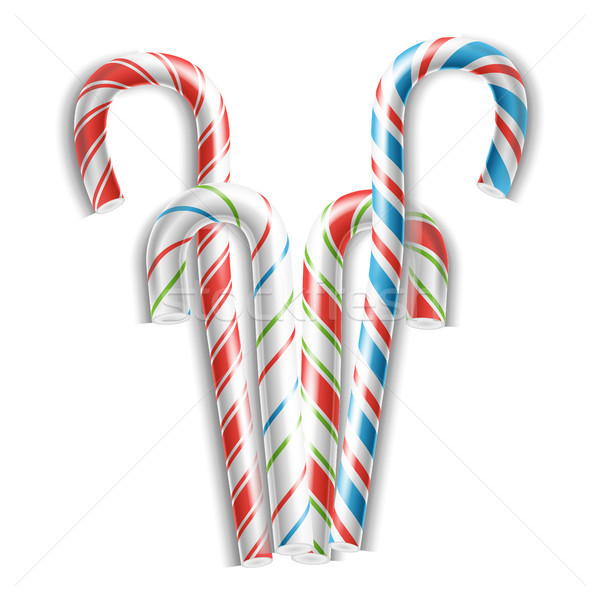 Classic Candy Cane Vector. 3D Realistic Christmas Candy Cane Set Striped In Christmas Colours. For X Stock photo © pikepicture