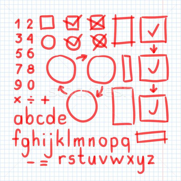 Stockfoto: Fiche · hand · geschreven · doodle · symbolen · vector