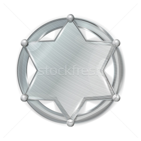 Sheriff Badge Star Vector. Realistic Blank Of Metal Sheriff Badge Star. Stock photo © pikepicture