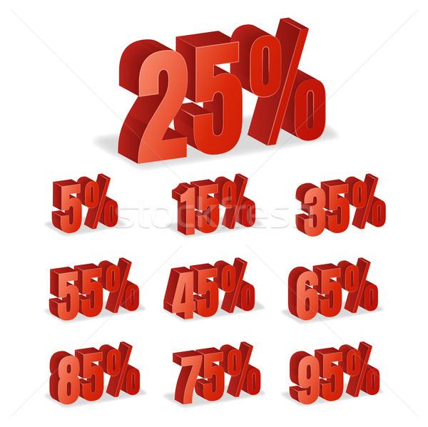 Indirim sayılar 3D vektör kırmızı satış Stok fotoğraf © pikepicture