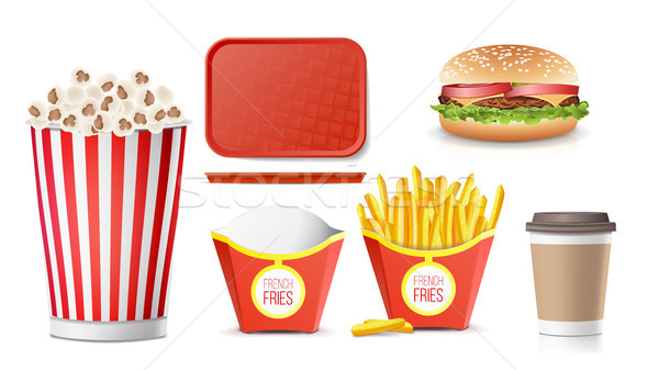 Fast Food Icons Set Vector. French Fries, Coffee, Hamburger, Cola, Tray Salver, Popcorn. Isolated On Stock photo © pikepicture