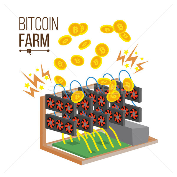 Bitcoin Farm Vector. Cryptocurrency Mining Farm. Video Card. Mining Virtual Gold Coins. Digital Curr Stock photo © pikepicture