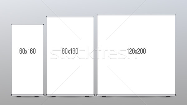 Roll Up Banner Stand Set Vector. Vertical Billboard. Poster For Forum. Empty Mock Up. White Show Dis Stock photo © pikepicture