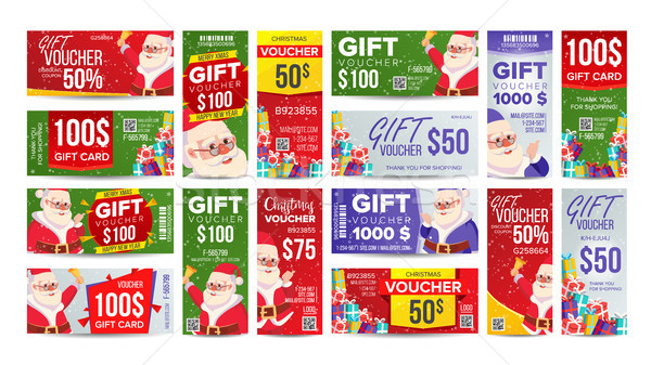 Voucher Gift Design Vector. Set Horizontal Vertical Discount. Merry Christmas. Santa Claus And Gifts Stock photo © pikepicture