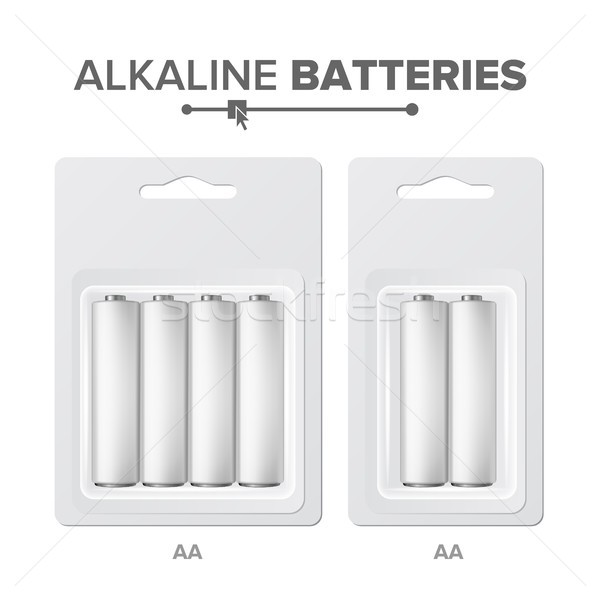 AA Batteries Packed Vector. Alkaline Battery In Blister. Realistic Glossy Battery Accumulator. Mock  Stock photo © pikepicture