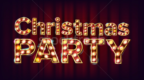Christmas Party Sign Vector. Font Marquee Light. Carnival, Circus, Casino Style. Poster, Flyer, Gree Stock photo © pikepicture