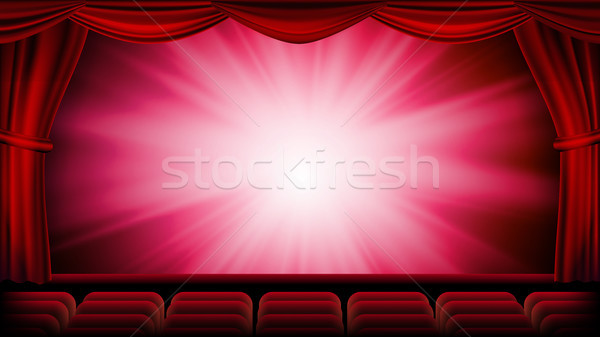 Rood theater gordijn vector opera bioscoop Stockfoto © pikepicture