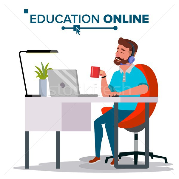Education Online Vector. Home Online Education Service. Young Man In Headphones Working With Compute Stock photo © pikepicture