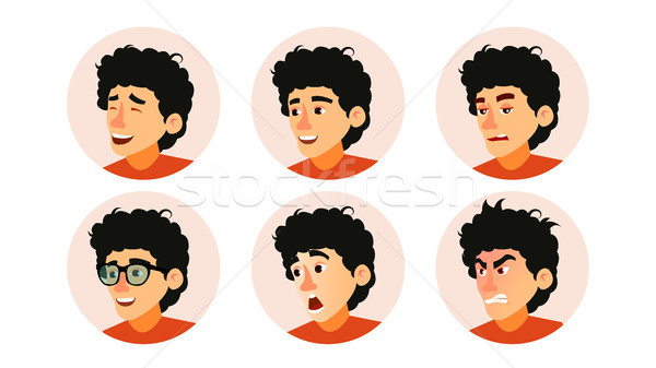 Junior Character Business People Avatar Vector. Developer Teen Man Face, Emotions Set. Creative Avat Stock photo © pikepicture