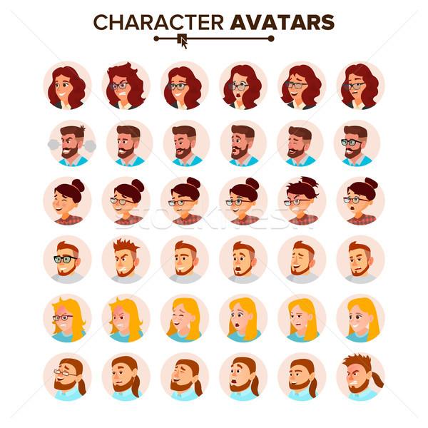 üzletemberek avatar vektor férfi női arc érzelmek Stock fotó © pikepicture