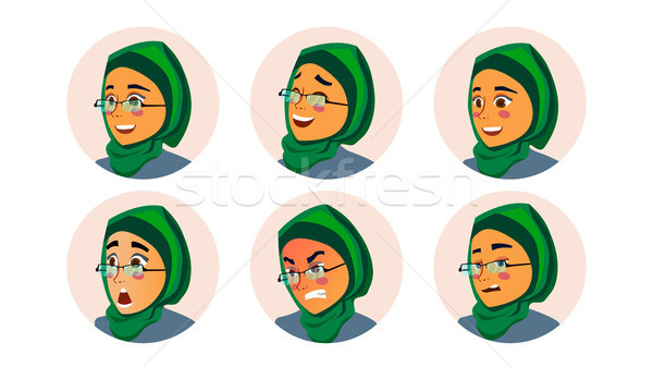 Muslim Business Woman Avatar Vector. Woman Face, Emotions Set. Hijab. Muslim Female Creative Placeho Stock photo © pikepicture