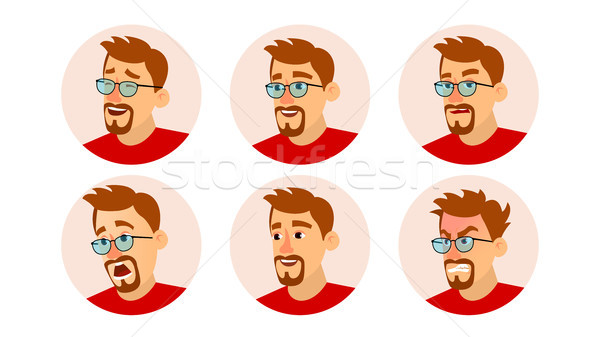 Bearded Man Avatar Vector. Character Business People Avatar. Face Emotions Set. Cartoon, Comic Art I Stock photo © pikepicture
