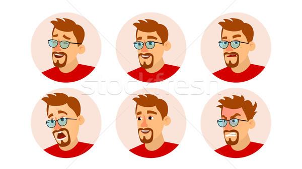 Szakállas férfi avatar vektor karakter üzletemberek Stock fotó © pikepicture