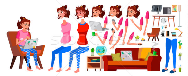 Freelancer Girl Worker Vector. Woman. Smiling Servant, Officer. Home Freelance. Lady Face Emotions,  Stock photo © pikepicture