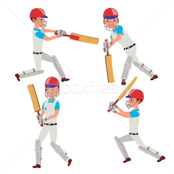 Cricket Player Vector. Wearing Sport Uniform Clothes. Different Poses. Cartoon Character Illustratio Stock photo © pikepicture