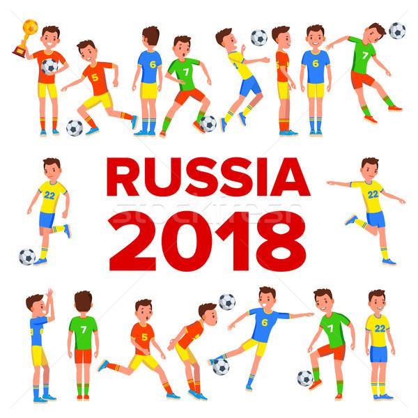 Piłkarz zestaw wektora świat kubek Rosja Zdjęcia stock © pikepicture