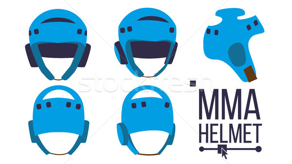 MMA Helmet Vector. Sport Game Equipment Icon. Different View. Boxing Protection Helmet. Isolated Fla Stock photo © pikepicture