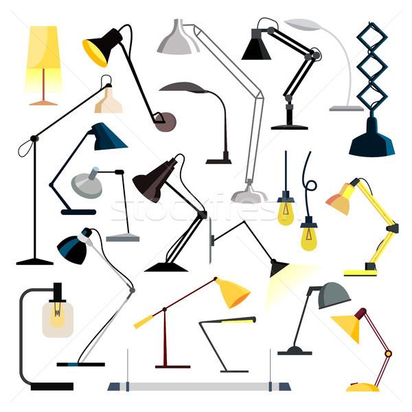 Lampy zestaw wektora tabeli biurko biuro Zdjęcia stock © pikepicture