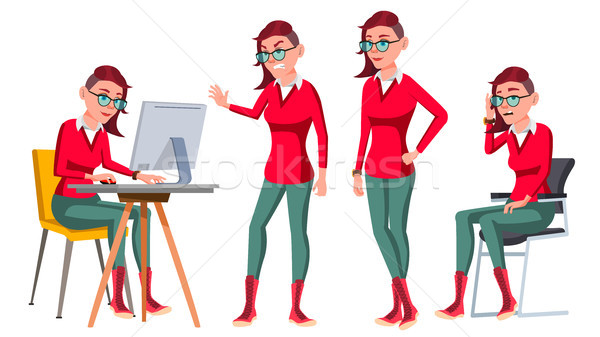 Office Worker Vector. Woman. Happy Clerk, Servant, Employee. Freak. In Action. Business Human. Emoti Stock photo © pikepicture