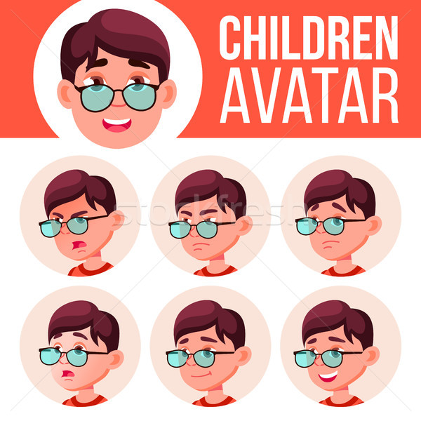 Boy Avatar Set Kid Vector. Primary School. Face Emotions. Facial, People. Cheer, Pretty. Card, Adver Stock photo © pikepicture